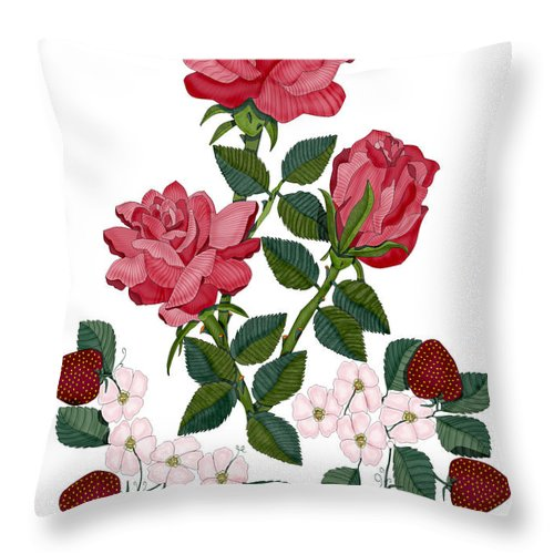 Roses Throw Pillow featuring the painting Strawberry Wine And Roses by Anne Norskog