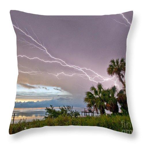 Lightning Throw Pillow featuring the photograph Streak Lightning by Stephen Whalen