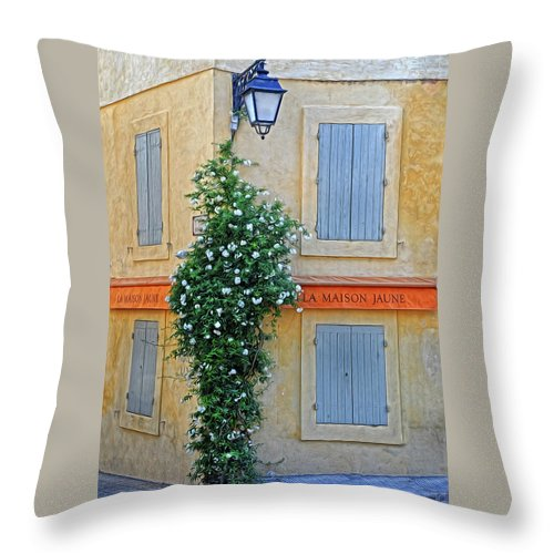 Street Corner Throw Pillow featuring the photograph Street Corner In Provence by Dave Mills