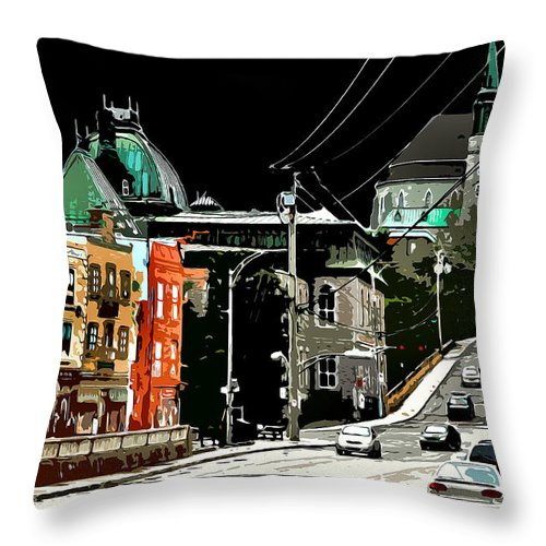 Citycenter Throw Pillow featuring the photograph Streetside by Burney Lieberman