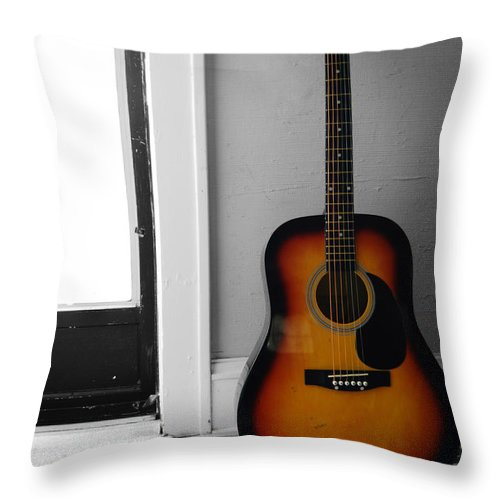 Guitar Throw Pillow featuring the photograph Strings Of Color by Trish Hale
