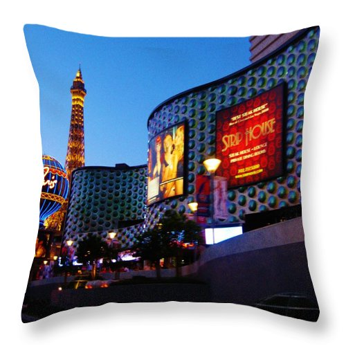 Strip Throw Pillow featuring the photograph Strip House by Caroline Lomeli