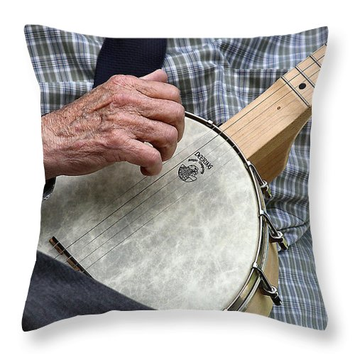 Banjo Throw Pillow featuring the photograph Strummin by John Lewis