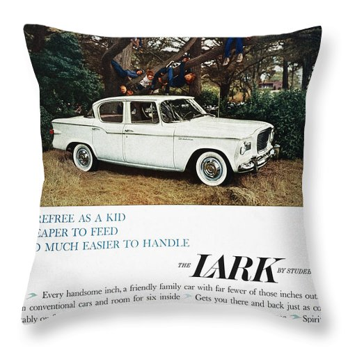 1959 Throw Pillow featuring the photograph Studebaker Ad, 1959 by Granger