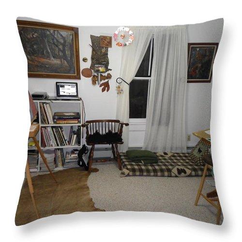 Studio Throw Pillow featuring the photograph Studio - Art Work Space by Anna Ruzsan