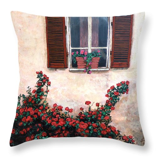 Studio Window Throw Pillow featuring the painting Studio Window by Tom Roderick