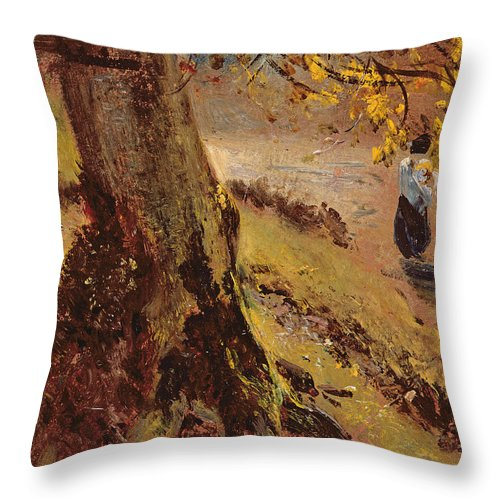 Study Of Tree Trunks Throw Pillow featuring the painting Study Of Tree Trunks by John Constable