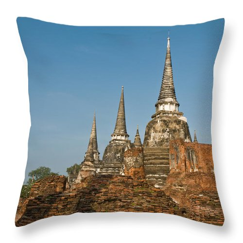 Ancient Throw Pillow featuring the photograph Stupas Chedis Of A Wat In Ayutthaya by U Schade