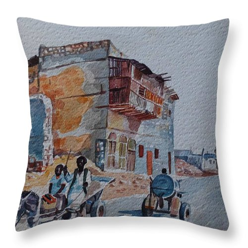 Suakin Red Sea 1 Throw Pillow featuring the painting Suakin Red Sea 1 by Mohamed Fadul