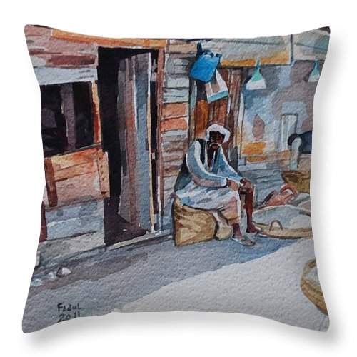 Suakin Red Sea 2 Throw Pillow featuring the painting Suakin Red Sea 2 by Mohamed Fadul