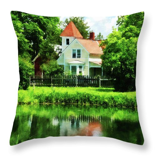 Lake Throw Pillow featuring the photograph Suburban House With Reflection by Susan Savad