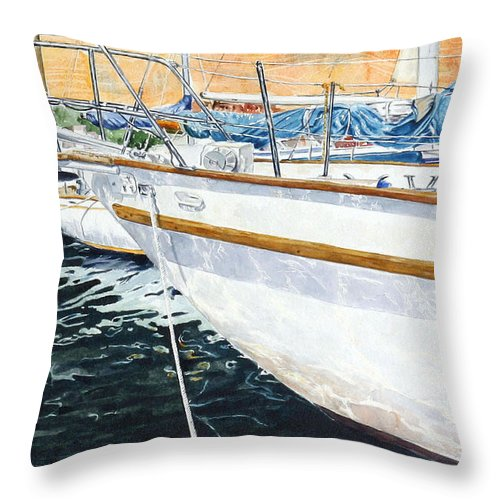 Schip. Boats Throw Pillow featuring the painting Su'entu E Nora Riflessi by Giovanni Marco Sassu