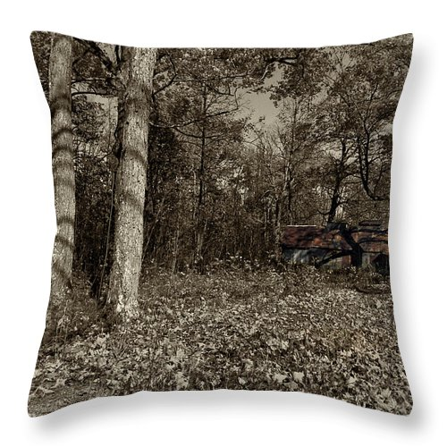 Xdop Throw Pillow featuring the photograph Sugar Shack In Sepia by John Herzog
