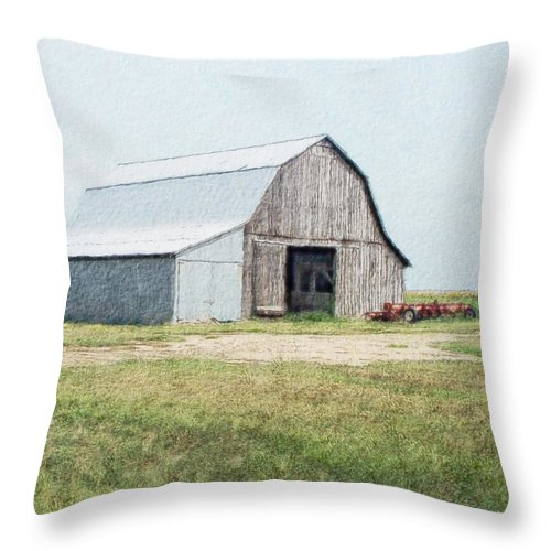 Arcitecture Throw Pillow featuring the digital art Summer Barn by Debbie Portwood