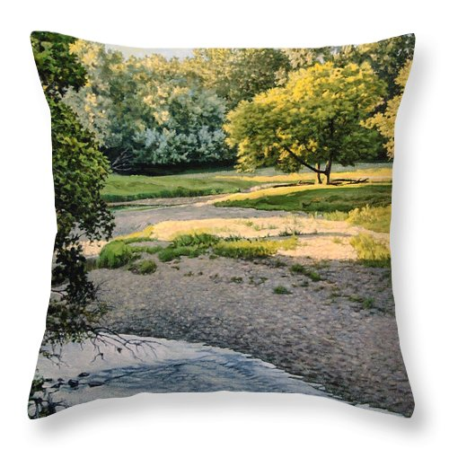 Landscape Throw Pillow featuring the painting Summer Evening Along The Creek by Bruce Morrison