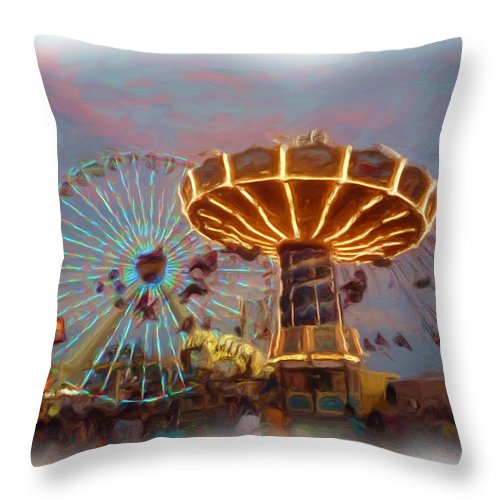 Amusement Rides Throw Pillow featuring the photograph Summer Fun by Thomas MacPherson Jr