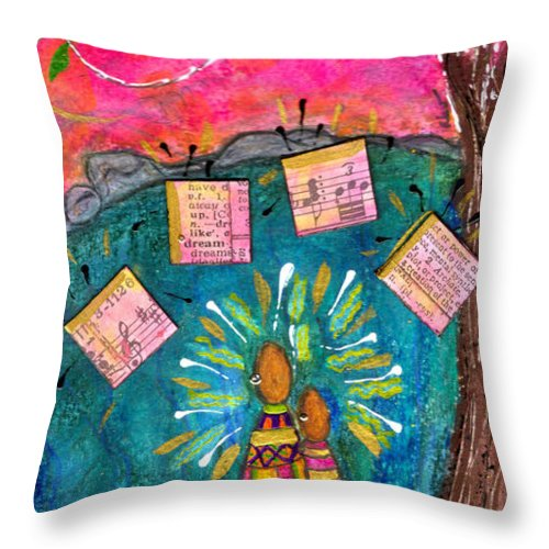 Greeting Cards Throw Pillow featuring the mixed media Summer Melodies by Angela L Walker