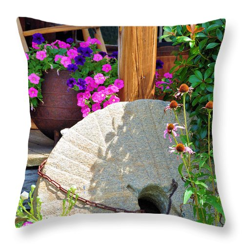 Still Life Throw Pillow featuring the photograph Summer Millstone by Jan Amiss Photography