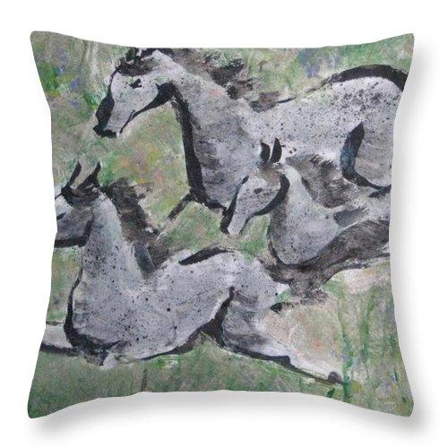 Horses Throw Pillow featuring the mixed media Summer Spirits by Ellen Miffitt