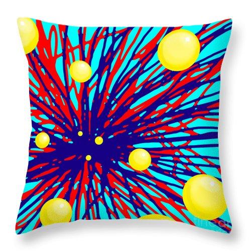 Ball Throw Pillow featuring the digital art Summer Splat With Yellow Balls by Christopher Shellhammer