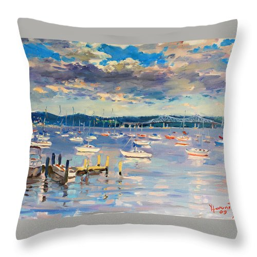 Hudson River Throw Pillow featuring the painting Sun And Clouds In Hudson by Ylli Haruni