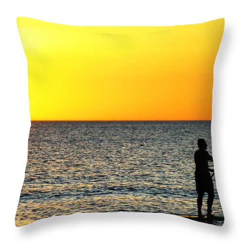 Sunset Throw Pillow featuring the photograph Sun Boarding by Anthony Wilkening