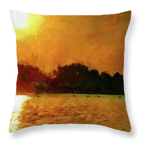 Sun Throw Pillow featuring the painting Sun Burned by Jeffrey Kolker