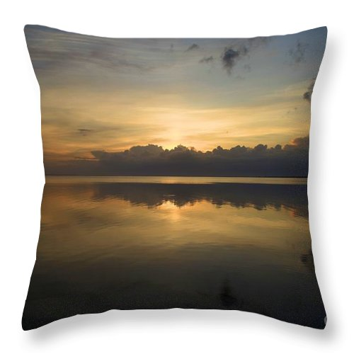 North Carolina Outer Banks Throw Pillow featuring the photograph Sun On The Horizon by Adam Jewell