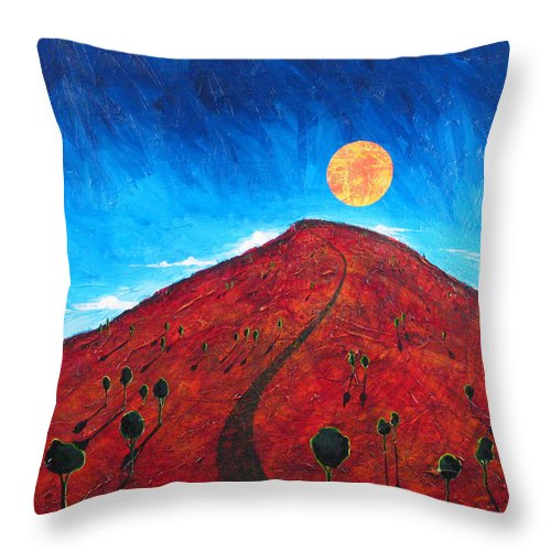 Landscape Throw Pillow featuring the painting Sun Over Red Hill by Rollin Kocsis