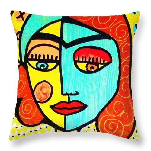 Women Throw Pillow featuring the painting Sun Praying Angel by Sandra Silberzweig