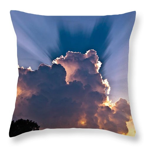 Sun Throw Pillow featuring the photograph Sun Rays And Clouds by Amber Flowers