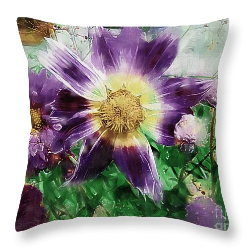 Floral Throw Pillow featuring the painting Sunburst In Lavender by RC DeWinter