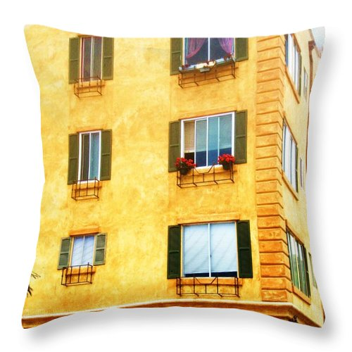 Buildings Throw Pillow featuring the photograph Sunday Stroll by Caroline Lomeli