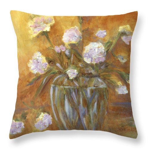 Carnations Throw Pillow featuring the painting Sunny Carnations In A Vase by Claire Bull