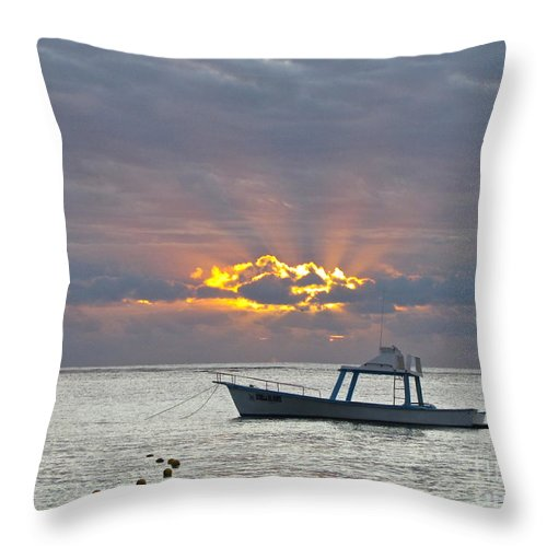 Photography Throw Pillow featuring the photograph Sunrise - Puerto Morelos by Sean Griffin