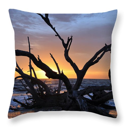 Jekyll Island Throw Pillow featuring the photograph Sunrise At Driftwood Beach 5.2 by Bruce Gourley