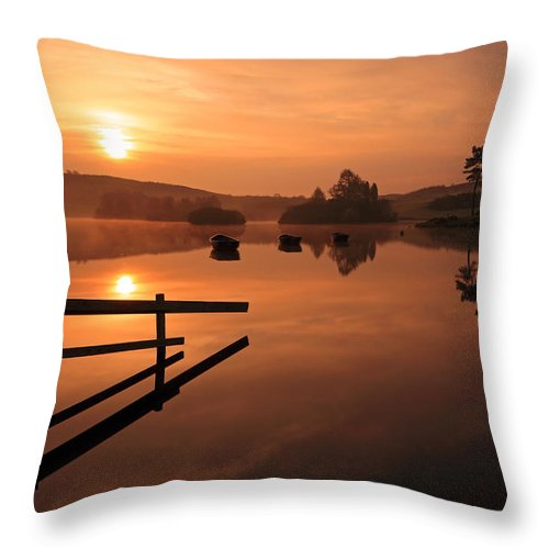 Sunrise Throw Pillow featuring the photograph Sunrise At Knapps Loch by Grant Glendinning