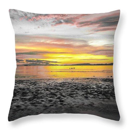 Sunrise Throw Pillow featuring the photograph Sunrise At Sea 2 by Sumit Mehndiratta