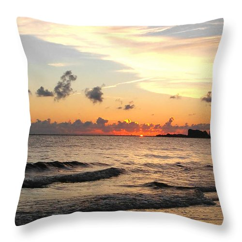 Sunrise Throw Pillow featuring the photograph Sunrise At Sea 4 by Sumit Mehndiratta