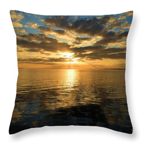 North Carolina Outer Banks Throw Pillow featuring the photograph Sunrise At The Banks by Adam Jewell