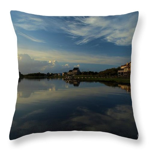 North Carolina Outer Banks Throw Pillow featuring the photograph Sunrise At The Outer Banks by Adam Jewell