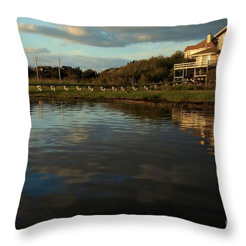 North Carolina Outer Banks Throw Pillow featuring the photograph Sunrise At The Shore by Adam Jewell