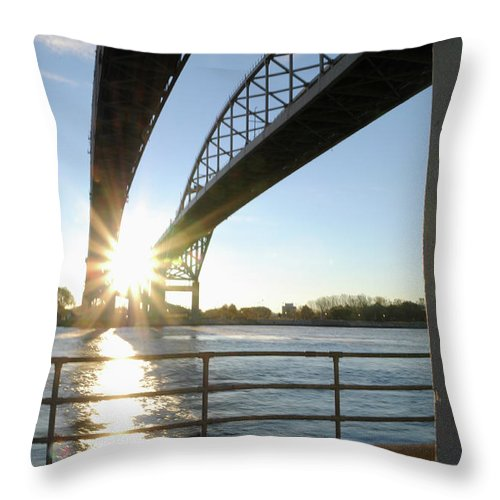 Sunrise Throw Pillow featuring the photograph Sunrise Blue Water Bridges by Ronald Grogan