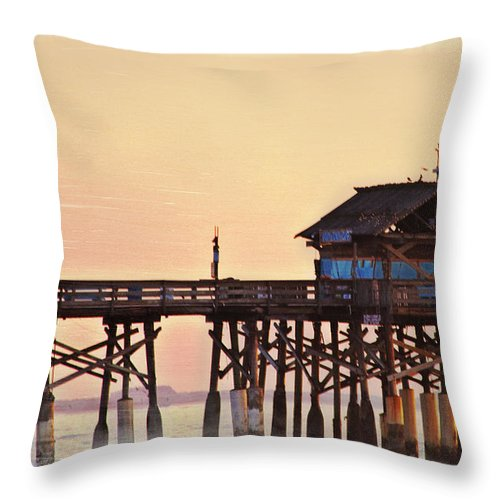 Sunrise Throw Pillow featuring the photograph Sunrise On Rickety Pier by Janie Johnson