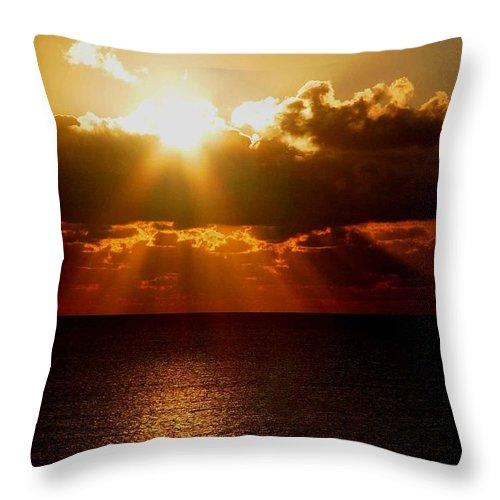 Sunrise Throw Pillow featuring the photograph Sunrise On Sea 1 by Sumit Mehndiratta