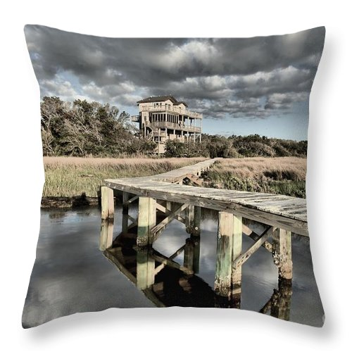 North Carolina Outer Banks Throw Pillow featuring the photograph Sunrise On The Sound by Adam Jewell