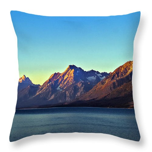 Lake Throw Pillow featuring the photograph Sunrise Over Jackson Lake by Robert Bales