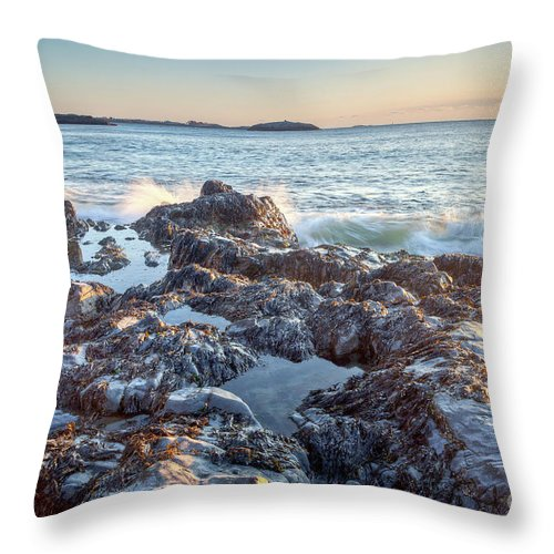America Throw Pillow featuring the photograph Sunrise Rocks by Susan Cole Kelly