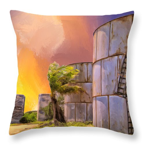 Tropics Throw Pillow featuring the painting Sunset And Abandoned Oil Tanks by Dominic Piperata