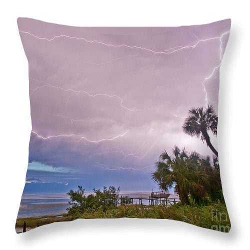 Lightning Throw Pillow featuring the photograph Sunset And Lightning by Stephen Whalen
